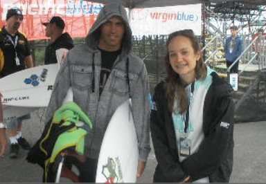 Hannah says hi to Kelly Slater