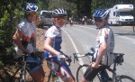 Maddy, Nick and Ben - waiting for the peleton